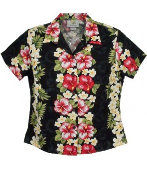 Hawaiian Ladies Cotton Aloha Shirt [ Plumeria Panel ] Black