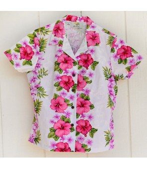Hawaiian Ladies Cotton Aloha Shirt [ Plumeria Panel ] White