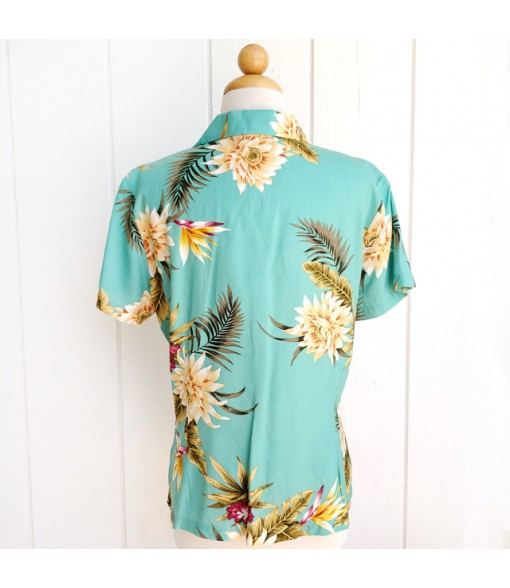 Hawaiian Ladies Rayon Aloha Shirt [ Ceres ]  Green