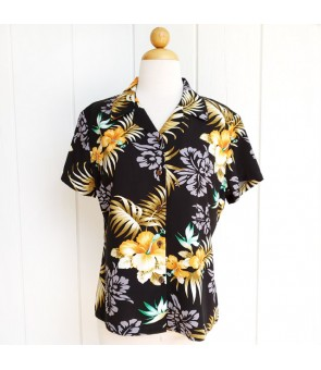 Hawaiian Ladies Rayon Aloha Shirt [ Fern Hibiscus ] Black