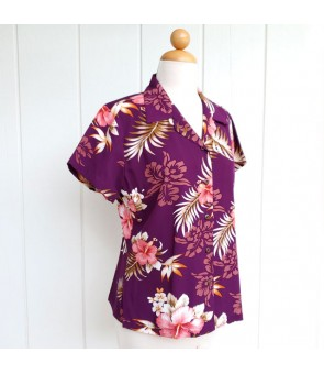 Hawaiian Ladies Rayon Aloha Shirt [ Fern Hibiscus ] Purple