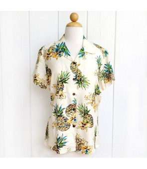 Hawaiian Ladies Rayon Aloha Shirt [ Golden Pineapple ] Cream
