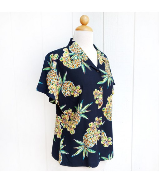 Hawaiian Ladies Rayon Aloha Shirt [ Golden Pineapple ] Navy