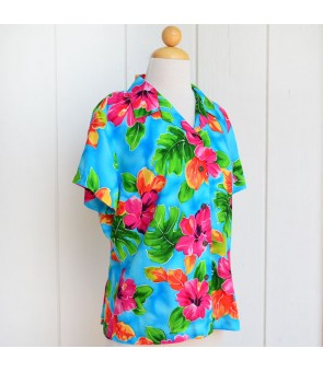 Hawaiian Ladies Rayon Aloha Shirt [ Hibiscus Watercolor ]  Blue