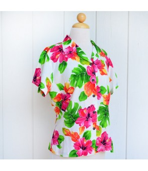 Hawaiian Ladies Rayon Aloha Shirt [ Hibiscus Watercolor ]  White