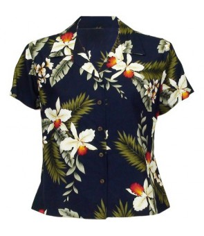 Hawaiian Ladies Rayon Aloha Shirt [ Hawaiian Orchid ]  Navy