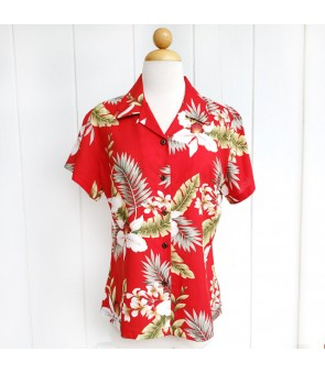 Hawaiian Ladies Rayon Aloha Shirt [ Hawaiian Orchid ]  Red