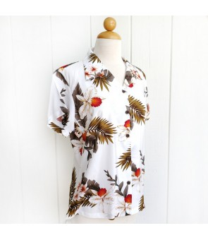Hawaiian Ladies Rayon Aloha Shirt [ Hawaiian Orchid ]  White