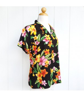 Hawaiian Ladies Rayon Aloha Shirt [ Happy Plumeria ] Black