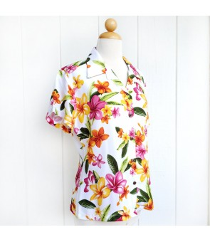 Hawaiian Ladies Rayon Aloha Shirt [ Happy Plumeria ] White