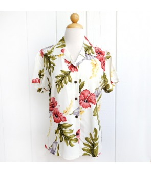 Hawaiian Ladies Rayon Aloha Shirt [ Monstera ] Cream