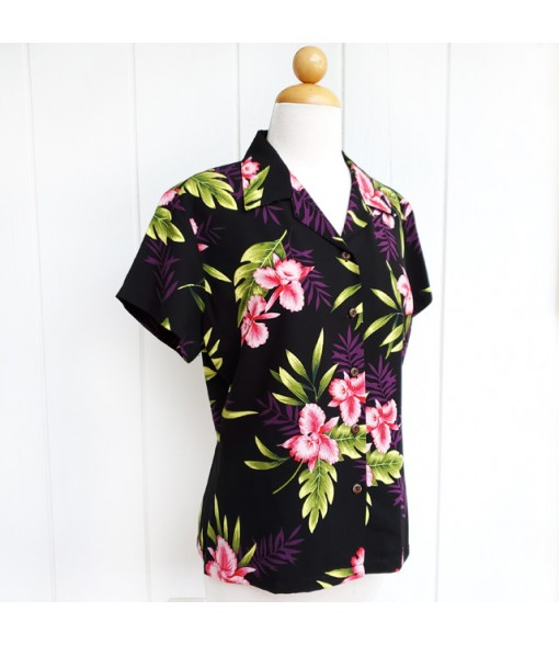 Hawaiian Ladies Rayon Aloha Shirt [ Orchid Fern ] Black