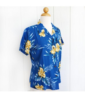 Hawaiian Ladies Rayon Aloha Shirt [ Orchid Fern ] Blue