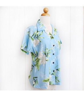 Hawaiian Ladies Rayon Aloha Shirt [ Orchid Fern ] Light Blue