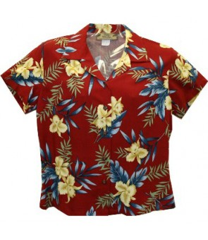 Hawaiian Ladies Rayon Aloha Shirt [ Orchid Fern ] Red