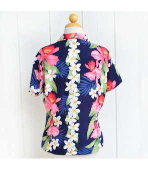 Hawaiian Ladies Rayon Aloha Shirt [ Plumeria Orchid Panel ]  Navy