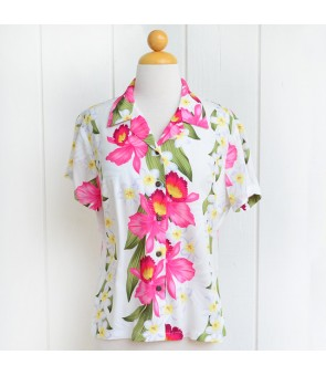 Hawaiian Ladies Rayon Aloha Shirt [ Plumeria Orchid Panel ]  White
