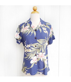 Hawaiian Ladies Rayon Aloha Shirt [ Pali Orchid ] Blue