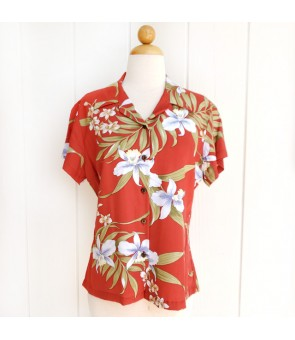 Hawaiian Ladies Rayon Aloha Shirt [ Pali Orchid ] Red