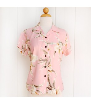 Hawaiian Ladies Rayon Aloha Shirt [ Retro Orchid ] Pink