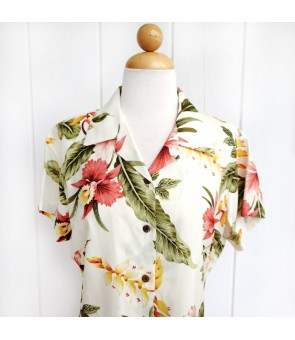 Hawaiian Ladies Rayon Aloha Shirt [ Sonic ]  Beige
