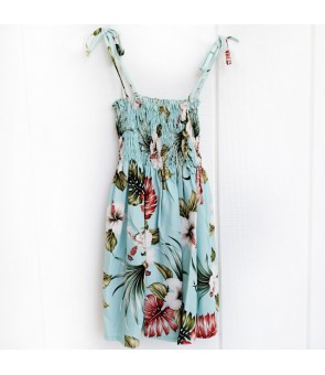 Hawaiian Rayon Girls Tube Top Dress [ Hibiscus & Monstera ] Light Blue