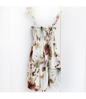 Hawaiian Rayon Girls Tube Top Dress [ Hibiscus & Monstera ] Ivory