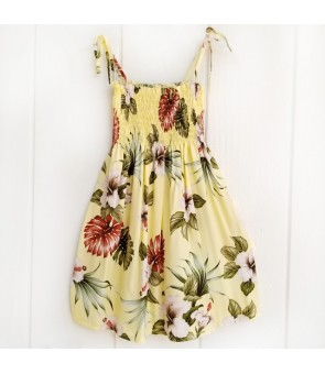 Hawaiian Rayon Girls Tube Top Dress [ Hibiscus & Monstera ] Light Yellow
