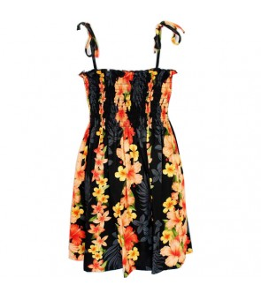 Hawaiian Rayon Girls Tube Top Dress [ Hibiscus Panel ] Black