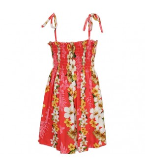 Hawaiian Rayon Girls Tube Top Dress [ Hibiscus Panel ] Coral