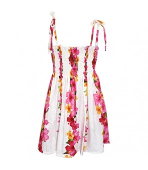 Hawaiian Rayon Girls Tube Top Dress [ Hibiscus Panel ] White
