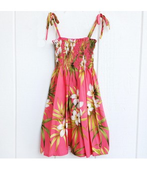 Hawaiian Rayon Girls Tube Top Dress [ Lani Plumeria ] Coral