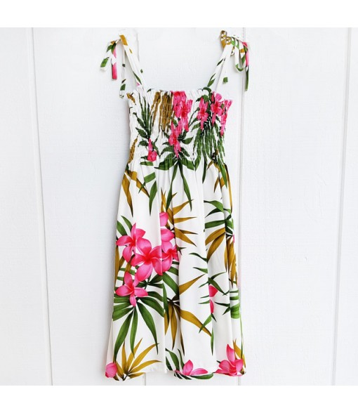 Hawaiian Rayon Girls Tube Top Dress [ Lani Plumeria ] White
