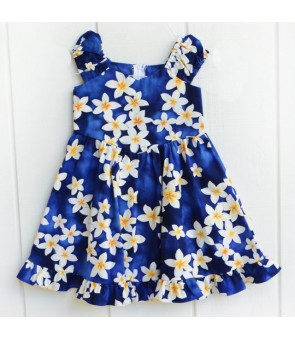 Hawaiian Cotton Girls Sundress [ Plumeria ] Blue