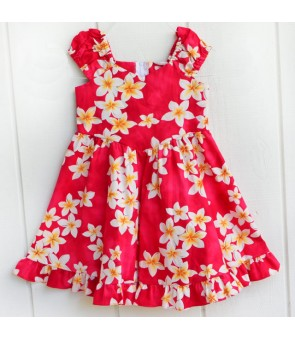 Hawaiian Cotton Girls Sundress [ Plumeria ] Pink