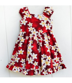 Hawaiian Cotton Girls Sundress [ Plumeria ] Red