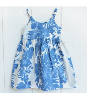 Hawaiian Poly Cotton Girls Bungy Dress [ Nahenahe Hibiscus ] Blue