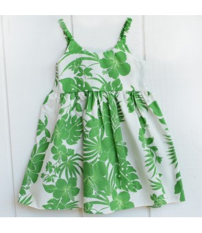 Hawaiian Poly Cotton Girls Bungy Dress [ Nahenahe Hibiscus ] Green
