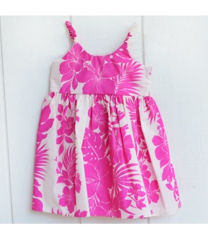 Hawaiian Poly Cotton Girls Bungy Dress [ Nahenahe Hibiscus ] Pink