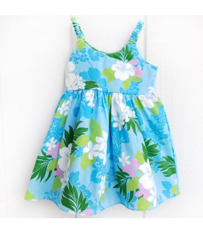Hawaiian Poly Cotton Girls Bungy Dress [ Tropical Flower ] Blue