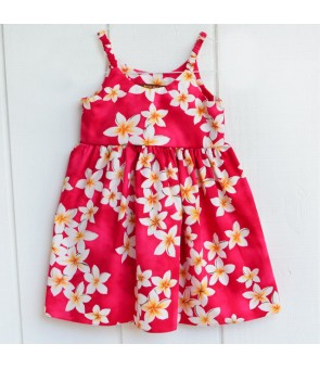 Hawaiian Cotton Girls Bungy Dress [ Plumeria ] Pink