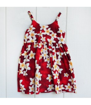 Hawaiian Cotton Girls Bungy Dress [ Plumeria ] Red