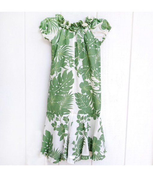 Hawaiian Poly Cotton Girls Muumuu Dress [ Nahenahe Hibiscus ] Green