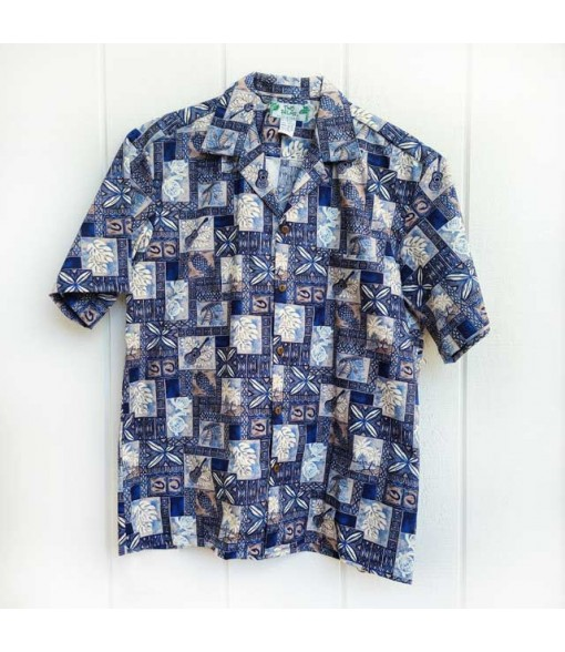 Hawaiian Cotton Aloha Shirt [ Block Honu ] Navy