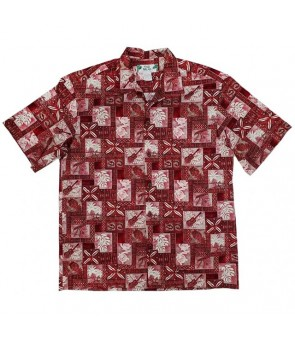 Hawaiian Cotton Aloha Shirt [ Block Honu ] Red