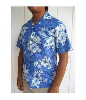 Hawaiian Cotton Aloha Shirt [ Crack Hibiscus ] Blue