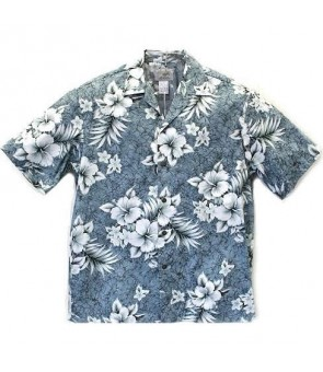 Hawaiian Cotton Aloha Shirt [ Crack Hibiscus ] Grey