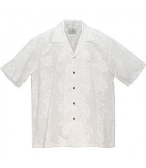 Hawaiian Cotton Boys Aloha Shirt [ Hibiscus Panel ] Wedding White