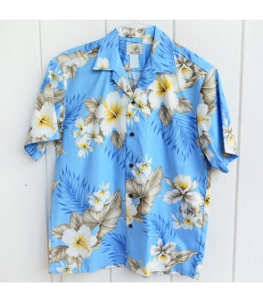 Hawaiian Cotton Aloha Shirt [ Hibiscus Trend ] Blue