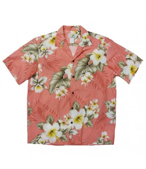 Hawaiian Cotton Aloha Shirt [ Hibiscus Trend ] Coral